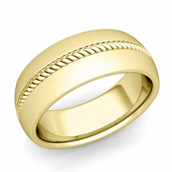Cable Comfort Fit Wedding Band Ring in 18k Gold, Satin Finish, 8mm