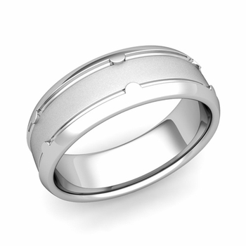 Unique Comfort Fit Wedding Band in Platinum Satin Matte Finish Ring, 7mm