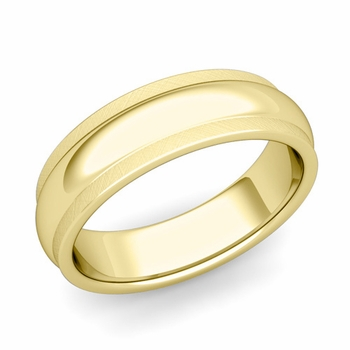 Dome Comfort Fit Wedding Band in 18k Gold Mixed Brushed Finish Ring, 6mm