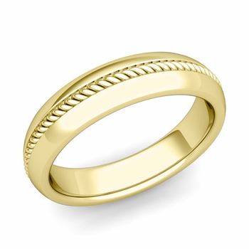 Cable Comfort Fit Wedding Band Ring in 18k Gold, Polished Finish, 5mm