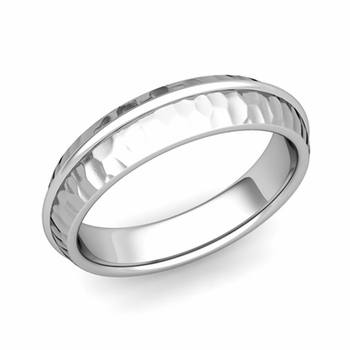 Circle Comfort Fit Wedding Band Ring in Platinum, Hammered Finish, 5mm