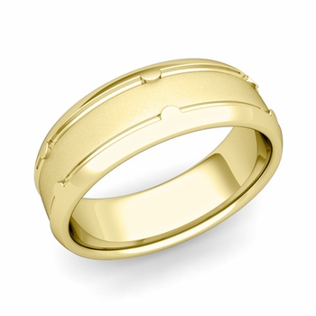 Unique Comfort Fit Wedding Band in 18k Gold Satin Matte Finish Ring, 7mm
