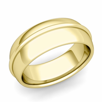 Circle Comfort Fit Wedding Band Ring in 18k Gold, Polished Finish, 8mm