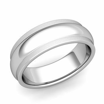 Dome Comfort Fit Wedding Band in Platinum Satin Matte Finish Ring, 7mm