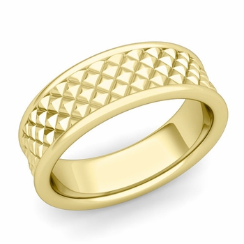 Diamond Cut Wedding Band Ring in 18k Gold Polished Finish Ring, 7mm