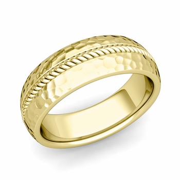 Cable Comfort Fit Wedding Band Ring in 18k Gold, Hammered Finish, 7mm