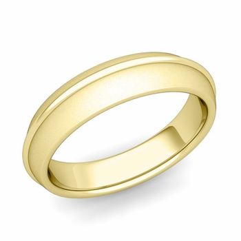 Circle Comfort Fit Wedding Band Ring in 18k Gold, Satin Finish, 5mm