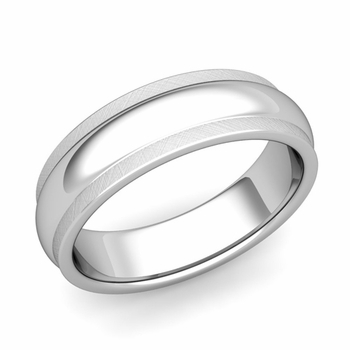 Dome Comfort Fit Wedding Band in Platinum Mixed Brushed Finish Ring, 6mm