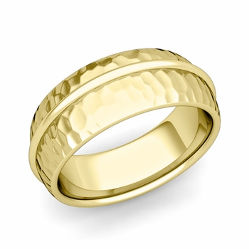 Circle Comfort Fit Wedding Band Ring in 18k Gold, Hammered Finish, 8mm