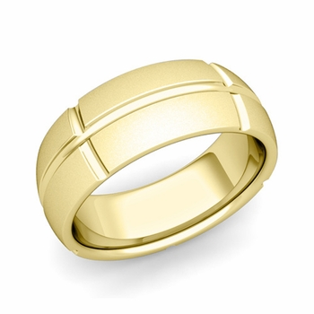 Brick Comfort Fit Wedding Band Ring in 18k Gold, Satin Finish, 8mm