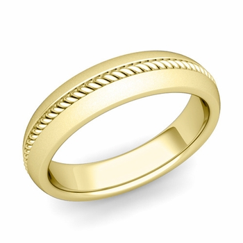 Cable Comfort Fit Wedding Band Ring in 18k Gold, Satin Finish, 5mm