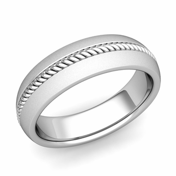 Cable Comfort Fit Wedding Band Ring in Platinum, Satin Finish, 6mm