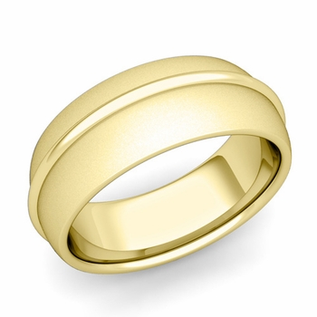 Circle Comfort Fit Wedding Band Ring in 18k Gold, Satin Finish, 8mm