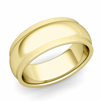 Dome Comfort Fit Wedding Band in 18k Gold Satin Matte Finish Ring, 8mm