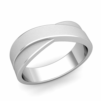 Infinity Wedding Band in Platinum Brushed Finish Comfort Fit Ring, 7mm