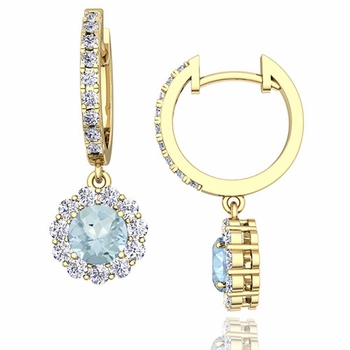 Halo Diamond and Aquamarine Hoop Earrings in 18k Gold, 5mm
