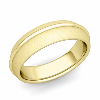 Circle Comfort Fit Wedding Band Ring in 18k Gold, Mixed Brushed Finish, 6mm