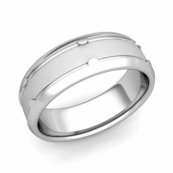 Unique Comfort Fit Wedding Band in Platinum Mixed Brushed Finish Ring, 7mm