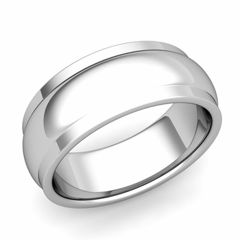 Dome Comfort Fit Wedding Band in Platinum Polished Finish Ring, 8mm
