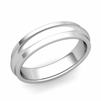 Dome Comfort Fit Wedding Band in Platinum Polished Finish Ring, 5mm