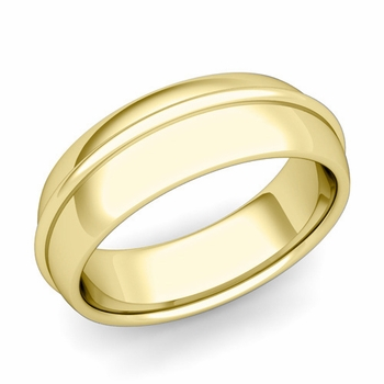 Circle Comfort Fit Wedding Band Ring in 18k Gold, Polished Finish, 7mm