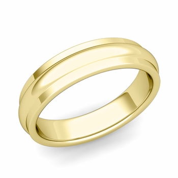 Dome Comfort Fit Wedding Band in 18k Gold Polished Finish Ring, 5mm
