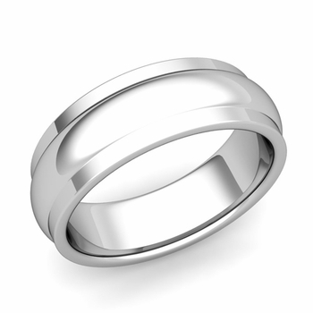 Dome Comfort Fit Wedding Band in Platinum Polished Finish Ring, 7mm