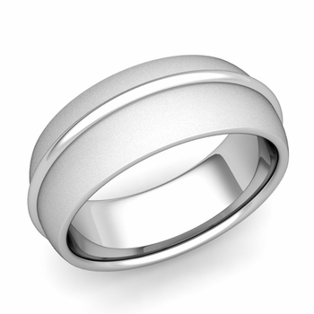 Circle Comfort Fit Wedding Band Ring in Platinum, Satin Finish, 8mm