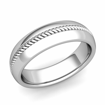 Cable Comfort Fit Wedding Band Ring in Platinum, Polished Finish, 6mm