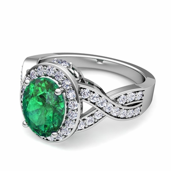 Infinity Diamond and Emerald Engagement Ring in Platinum, 9x7mm