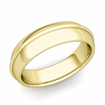 Circle Comfort Fit Wedding Band Ring in 18k Gold, Polished Finish, 6mm