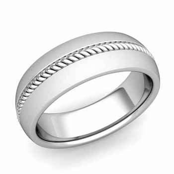 Cable Comfort Fit Wedding Band Ring in Platinum, Satin Finish, 7mm