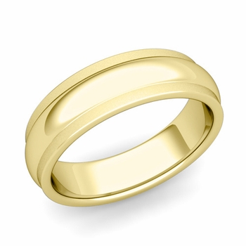 Dome Comfort Fit Wedding Band in 18k Gold Satin Matte Finish Ring, 6mm