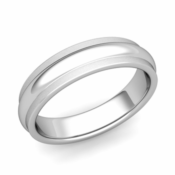 Dome Comfort Fit Wedding Band in Platinum Satin Matte Finish Ring, 5mm