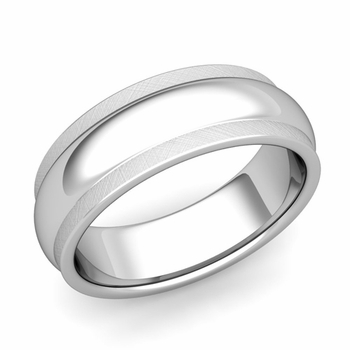 Dome Comfort Fit Wedding Band in Platinum Mixed Brushed Finish Ring, 7mm