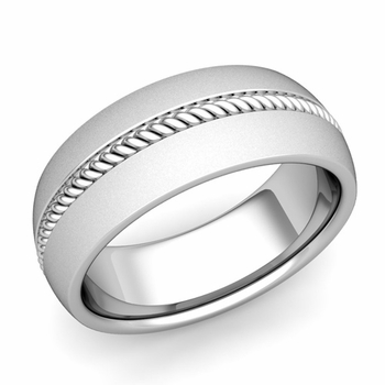 Cable Comfort Fit Wedding Band Ring in Platinum, Satin Finish, 8mm