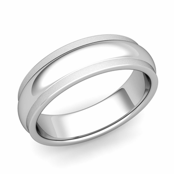 Dome Comfort Fit Wedding Band in Platinum Satin Matte Finish Ring, 6mm