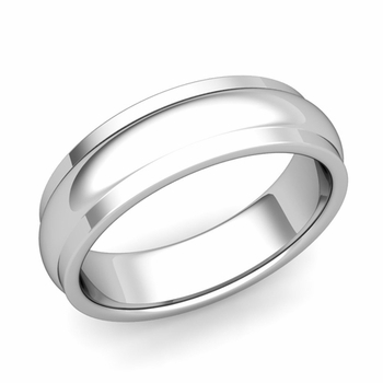 Dome Comfort Fit Wedding Band in Platinum Polished Finish Ring, 6mm