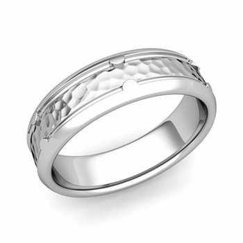 Unique Comfort Fit Wedding Band in Platinum Hammered Finish Ring, 6mm