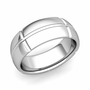 Brick Comfort Fit Wedding Band Ring in Platinum, Polished Finish, 8mm
