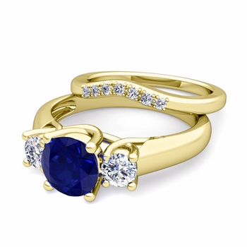 Trellis Diamond and Sapphire Three Stone Ring Bridal Set in 18k Gold, 7mm