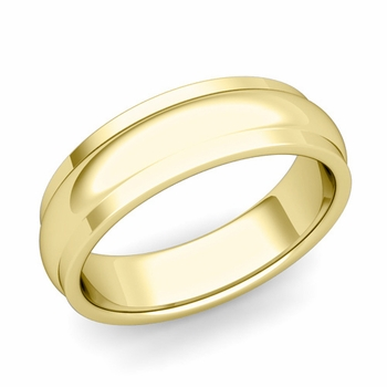 Dome Comfort Fit Wedding Band in 18k Gold Polished Finish Ring, 6mm