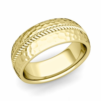 Cable Comfort Fit Wedding Band Ring in 18k Gold, Hammered Finish, 8mm