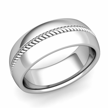 Cable Comfort Fit Wedding Band Ring in Platinum, Polished Finish, 8mm