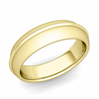 Circle Comfort Fit Wedding Band Ring in 18k Gold, Satin Finish, 6mm