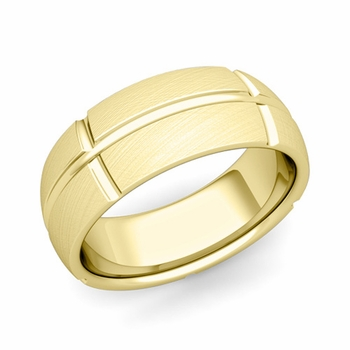 Brick Comfort Fit Wedding Band Ring in 18k Gold, Mixed Brushed Finish, 8mm