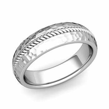 Cable Comfort Fit Wedding Band Ring in Platinum, Hammered Finish, 6mm