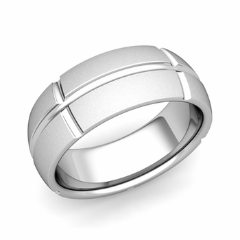 Brick Comfort Fit Wedding Band Ring in Platinum, Satin Finish, 8mm