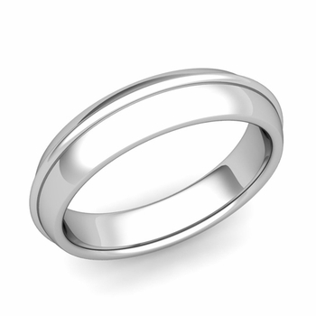 Circle Comfort Fit Wedding Band Ring in Platinum, Polished Finish, 5mm
