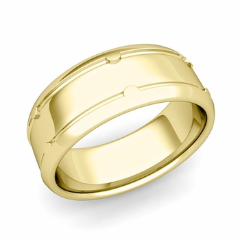 Unique Comfort Fit Wedding Band in 18k Gold Polished Finish Ring, 8mm
